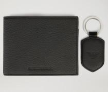 Geschenkset Mit Portemonnaie Und Schlüsselanhänger Aus Gehämmertem Leder