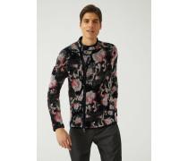 Blouson Aus Chenille-jacquard Mit Floralem Motiv