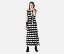 Langes Kleid Aus Kariertem Satin-jacquard