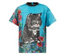 Cat-sequinned Cotton-muslin T-shirt