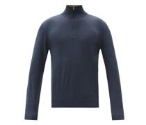 Striped-collar Merino-wool Sweater