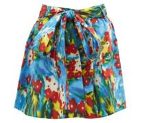 Sage Belted Floral-print Cotton-blend Shorts