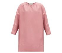 Quinta Cropped-sleeve Silk-twill Dress