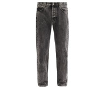 Marbled-wash Straight-leg Jeans