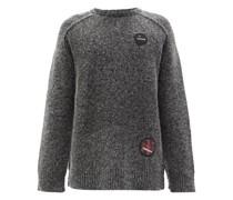 Appliqué-patch Fuzzy Lamé Sweater