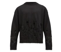 Distressed Logo-jacquard Wool Sweater