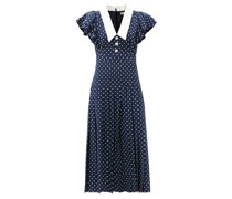 Pleated Polka-dot Silk Midi Dress