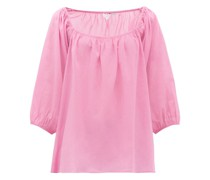 Stella Square-neck Cotton-muslin Top