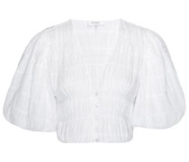 Julianne Puff-sleeve Cotton-blend Cropped Top