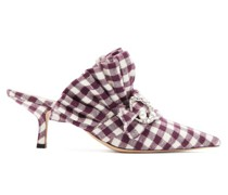 Crystal-moon Checked Cotton Mules
