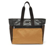 Leather-trimmed Technical-canvas Tote Bag