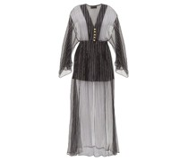 Lamé-striped Silk-blend Chiffon Dress