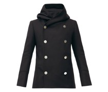 Double-breasted Virgin Wool-blend Hooded Pea Coat