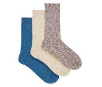 Pack Of Three Rockley Striped Cotton-blend Socks