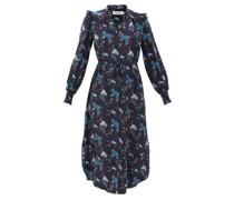 Stella Spiral Cloud-print Silk Midi Dress