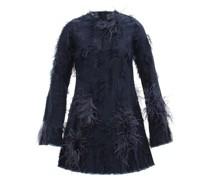 Feather-trimmed Distressed Denim Mini Dress