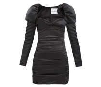 Puff-shoulder Satin Mini Dress