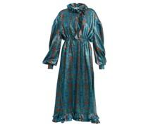 Linnet Floral-print Silk-blend Lamé Midi Dress