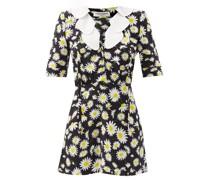 Petal-collar Daisy-print Mini Dress