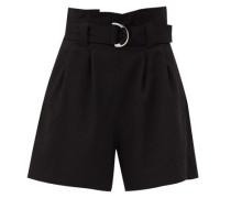 Paperbag-waist Crepe Shorts