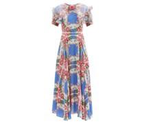 Organza-collar Floral-print Silk Dress