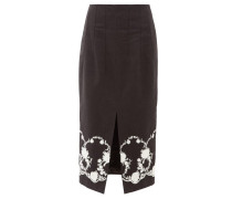 Floral-embroidered Twill Midi Skirt