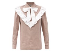 Claude Pussy-bow Ruffled Gingham Cotton Blouse