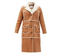 Adele Faux Shearling-trimmed Faux-leather Coat