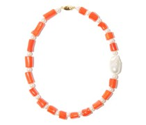 Pearl & Reconstituted Sea-bamboo Choker Necklace