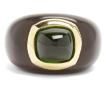 Emerald, Ebony & 18kt Gold Ring