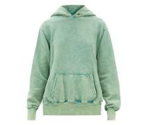 Brushed-back Cotton Cropped Hooded Sweatshirt