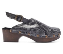 Ruka Snake-effect Leather And Shearling Clogs