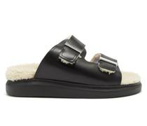 Hybrid Shearling Flatform Sandals