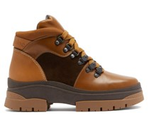 Panelled Leather And Suede Hiking Boots