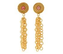 Rhodochrosite Chain Drop Clip Earrings