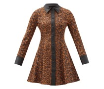 Nara Leopard-print Faux Suede Mini Shirt Dress