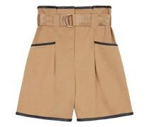 Satin-bound Paperbag-waist Cotton-twill Shorts