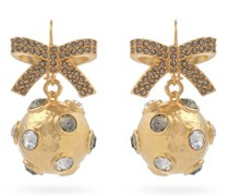 Crystal-embellished Bow And Sphere Earrings
