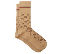 Gg Supreme-intarsia Cotton-blend Socks