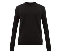 Ribbed-neckline Merino Wool Sweater