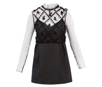 High-neck Sequinned-mesh And Wool-blend Mini Dress