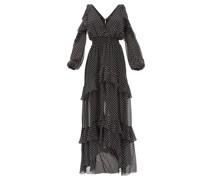 Off-the-shoulder Tiered Polka-dot Silk Maxi Dress