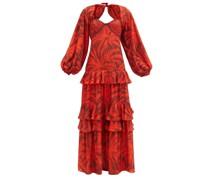 Festive Spirit Palm Tree-print Crepe Maxi Dress