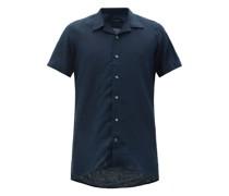 Cuban-collar Linen Shirt