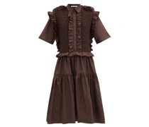 Lydia Smocked Ruffled Cotton-poplin Shirt Dress