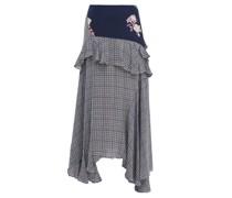 Jolissa Checked Ruffle-trim Crepe Midi Skirt