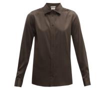 Point-collar Silk-blend Charmeuse Shirt