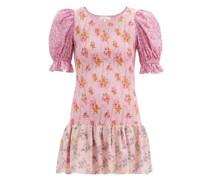 Luppa Shirred Floral-print Mini Dress