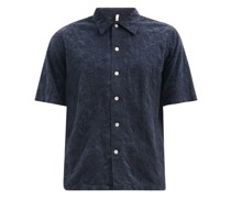 Space Floral-embroidered Cotton-poplin Shirt