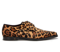 Leopard-print Calf-hair Derby Shoes